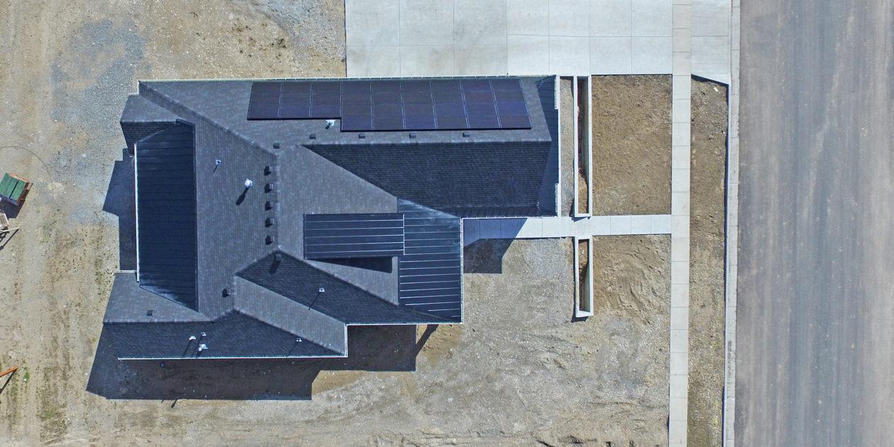 drone shot of solar panels